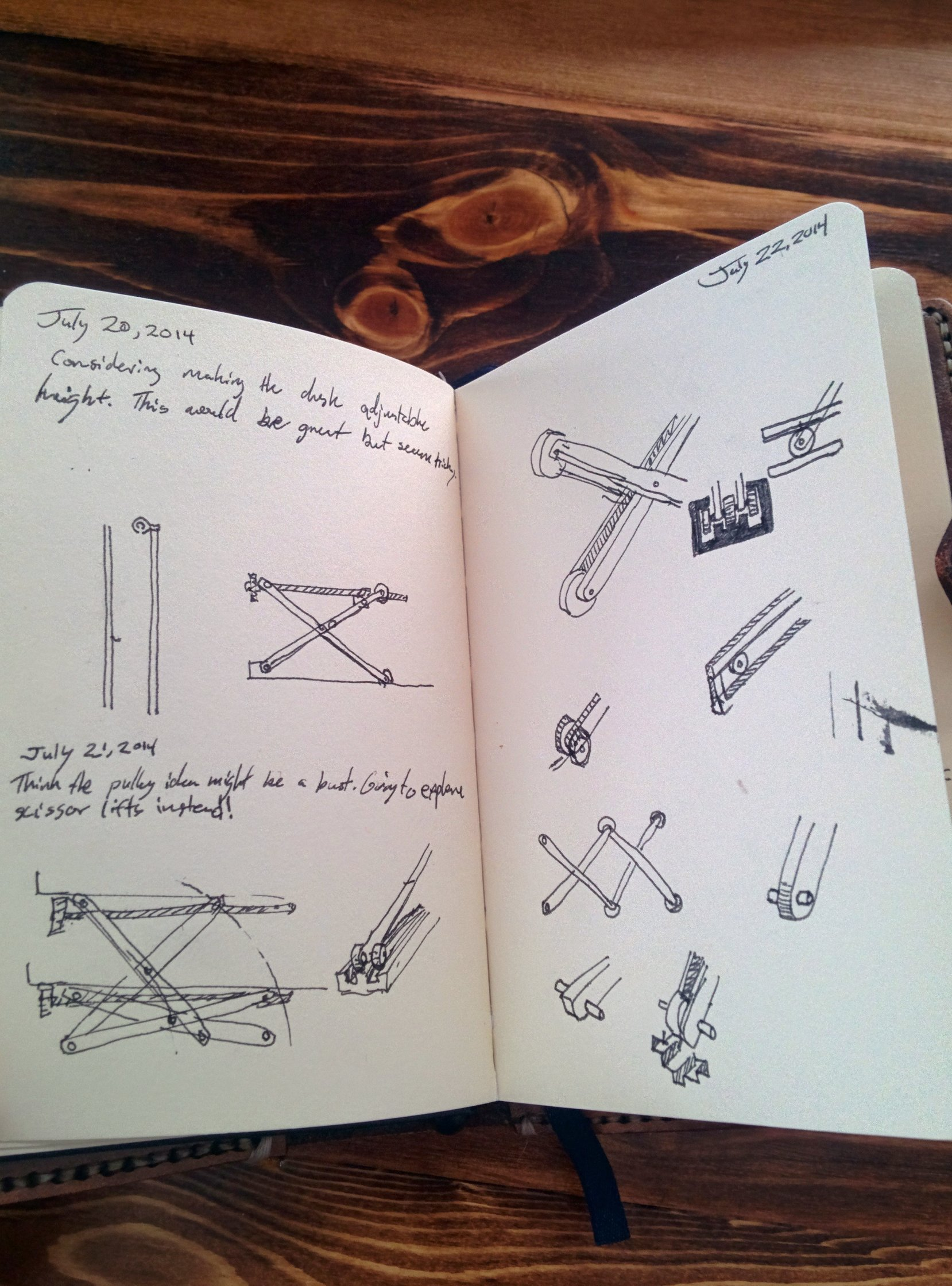 A few sketches in my journal, working through scissor concepts