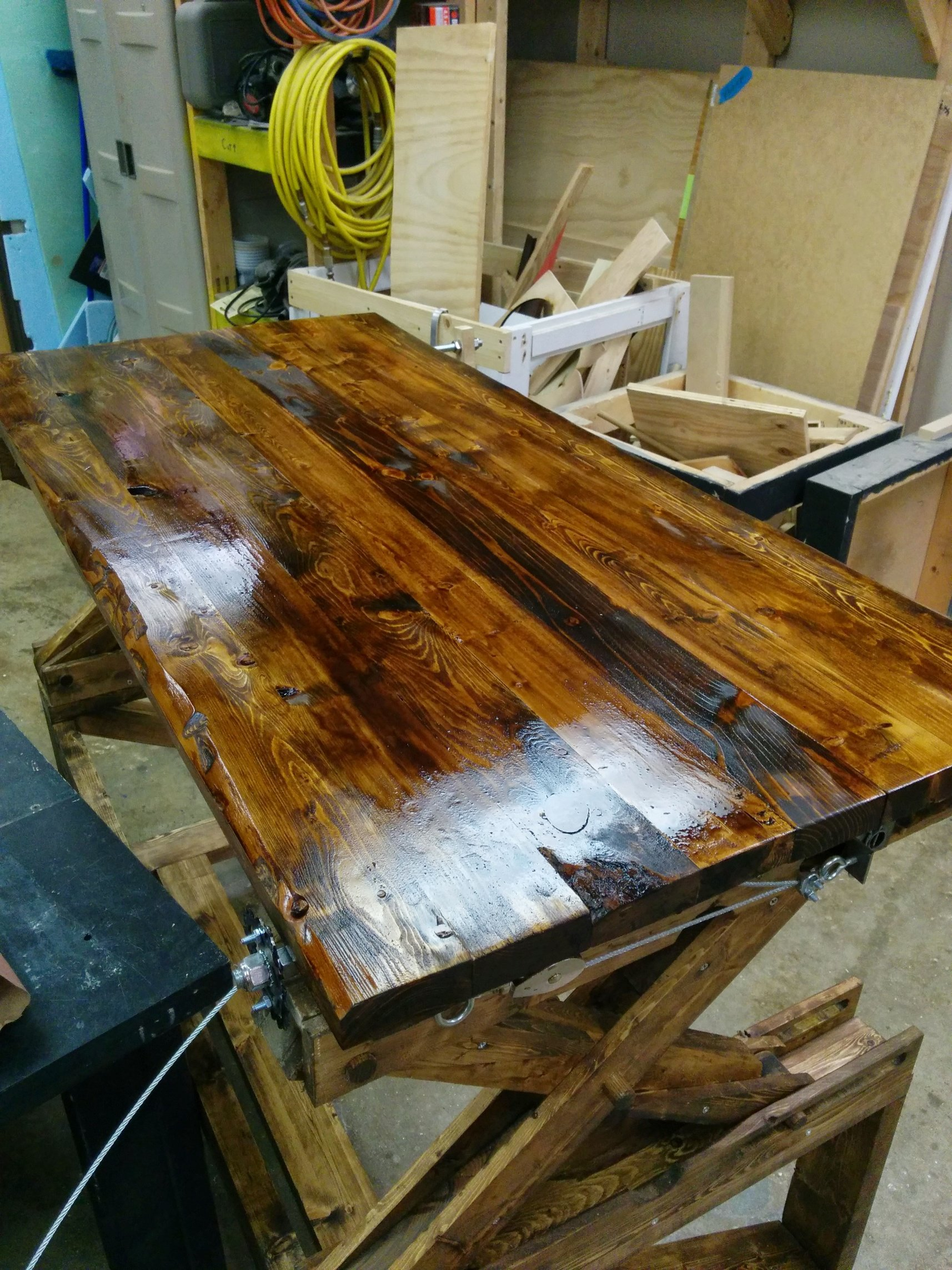 Held my breath and started staining the tabletop. I used Minwax Provincial.